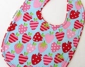 Baby Bib - Pink and Red Strawberries on Red and White Polkadot Minky