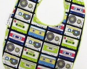 Retro Chic Baby Bib - Mix Tape Cassette Tapes