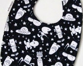 Baby Bib - Aliens on Black and White Polkadot Minky