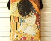 Gustav Klimt THE KISS HIPSTER Hip Bag Cross-Body Purse Zipper Closure with Antique Crochet Trim