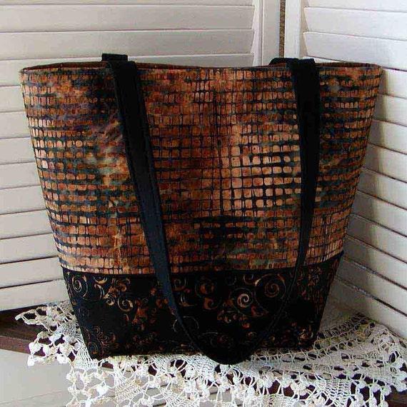 BALI BATIK TOTE Bag Hoffman Sparrow Brown & Onyx Screenprints Cotton Medium Diaper Bag/Purse