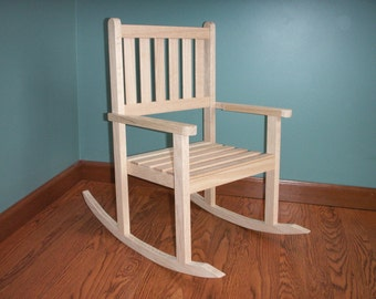 Children's solid oak rocking chair with 12 inch seat-unfinished