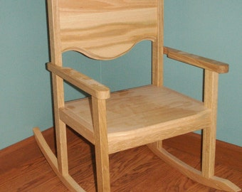 Children's  Oak Rocking Chairs with 12 Inch Seat- Clearcoat