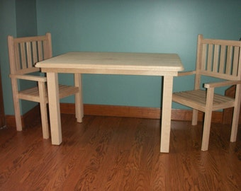 Children's handmade solid Red Oak table and 2 chairs set-unfinished