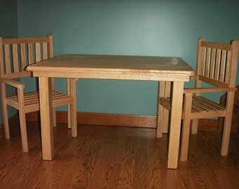 Children's handmade solid oak table and chair set -clearcoat