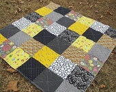 Picnic Throw Quilt, Patchwork, Forbidden, yellow grey black owls, ALL NATURAL, fresh modern handmade, READY to ship