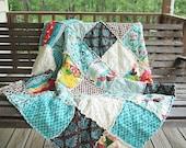 Picnic Quilt Throw, Rag, Its a Hoot, aqua brown, ALL NATURAL, fresh modern handmade