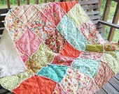 Picnic Throw Quilt, Rag, Sweet Nothings, pink green brown orange, ALL NATURAL, fresh modern handmade