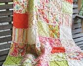 Rag Crib Quilt,  Sweet Nothings, green pink orange girls, ALL NATURAL, fresh modern handmade