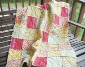 Baby Crib Quilt, Rag, A bit of Meadowsweet, aqua yellow pink, ALL NATURAL, fresh modern handmade