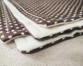 Baby Burp Cloth Set, Brown Dot, Boy or Girl, ALL NATURAL flannel, fresh modern handmade children READY to ship