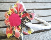 Blooming Headband for girls, Metropolis in pink and grey, fresh modern handmade children, READY TO SHIP