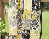 Minky Crib Quilt, Aviary 2 in granite, black grey silver yellow, PLUSH for baby, Granny Chic in Modern fabrics children