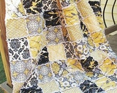 Queen Size Quilt, Rag, Aviary 2 in granite, black yellow grey, comfy cozy handmade bedding, Granny Chic in Modern Fabrics,