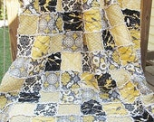 King Size Quilt, Rag, Aviary 2 in granite, black yellow grey, comfy cozy handmade bedding, Granny Chic in Modern Fabrics,