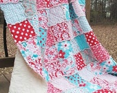 Full Size Quilt, Rag, Aqua and Red, Girl, ALL NATURAL, fresh modern handmade