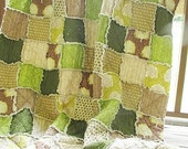 Twin Size Quilt, Rag, The Majestic Forest, brown and green, boy, ALL NATURAL, fresh modern handmade children