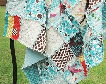 Rag Baby Quilt, Its a Hoot, aqua blue brown owls birds, for girl,  all natural, granny chic in modern fabrics