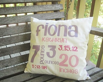 Baby Birth Stat Pillow Sham, ALL NATURAL, fresh modern handmade children