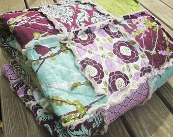Full Size Quilt, Rag, Aviary 2 in lilac, Girl, comfy cozy handmade bedding, Granny Chic in Modern Fabrics,