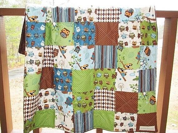 Minky Crib Quilt, Hooty Hoot, blue green brown owls for boys, plush soft, fresh modern handmade kids