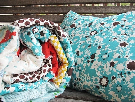 Rag Quilt Patterns For Twin Bed : Twin Size Quilt with Sham Rag Its a Hoot aqua blue brown