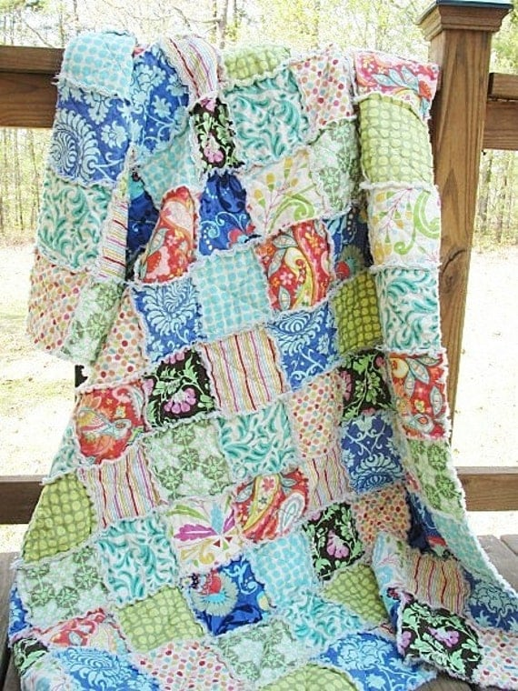 Rag Quilt Throw, Large, YOU PICK FABRICS, all natural, fresh modern handmade