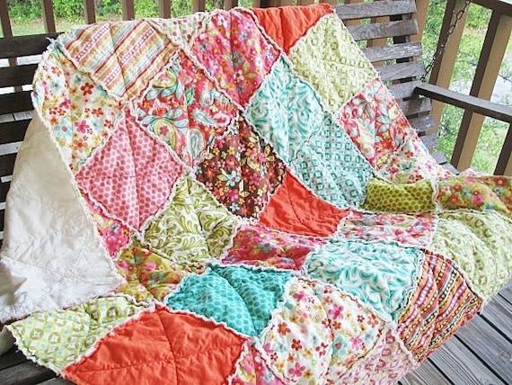 Picnic Throw Quilt, Rag, Sweet Nothings, pink green brown orange, ALL NATURAL, fresh modern handmade