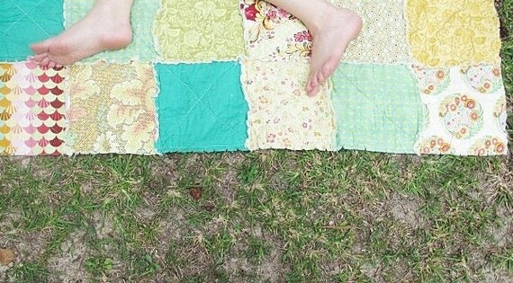 ALL NATURAL, Picnic Quilt Throw, Rag, The Lovely Emerald, READY to ship, blue green