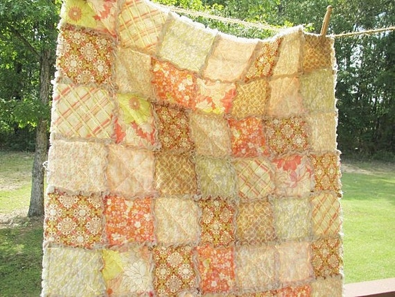 Baby Rag Quilt, Coquette in nude, shabby brown pink green, Girl, ALL NATURAL, fresh modern handmade children