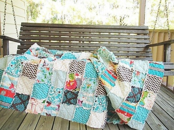 Rag Quilt Throw, Large, Its a Hoot, ALL NATURAL, fresh modern handmade home decor