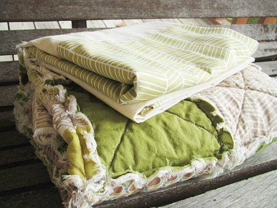 Baby Bedding, rag crib quilt and skirt, The Majestic Forest, green brown, Boy, ALL NATURAL, fresh modern handmade children