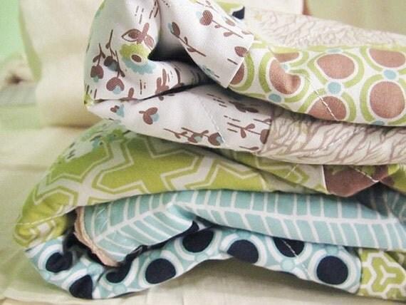 Minky Crib Quilt, Modern Meadow Mix, brown green blue, PLUSH for baby, fresh modern handmade children
