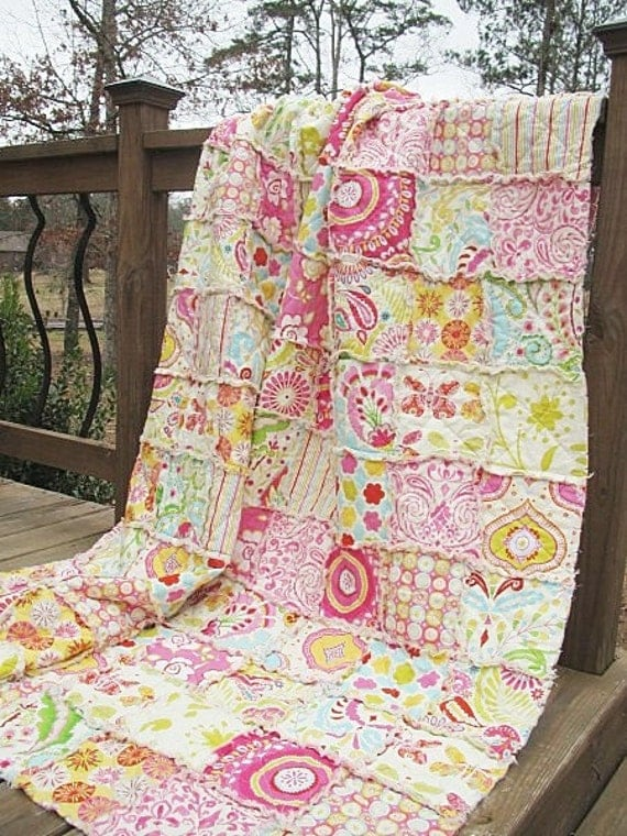 Full Size Quilt, Rag, Kumari Garden, shabby pink, Girl, ALL NATURAL, fresh modern handmade