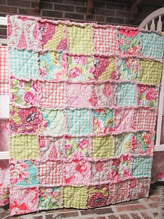 RESERVED for Staci, Full Size RAg Quilt, Pink Love Mix, Girl, ALL NATURAL, fresh modern handmade bedding