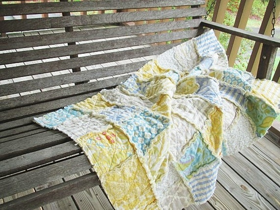Rag Crib Quilt, Taza, boy / girl, yellow blue grey, ALL NATURAL, fresh modern handmade baby