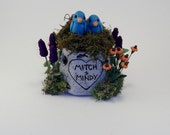 Small Custom Personalized Tree Stump Wedding Cake Topper Keepsake Example - Teal, Orange and Purple - Mitch and Mindy