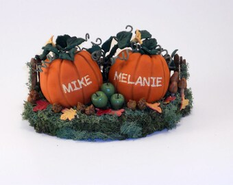 Custom Medium Pumpkins Wedding Cake Topper Decoration or Keepsake Gift - Mike and Melanie