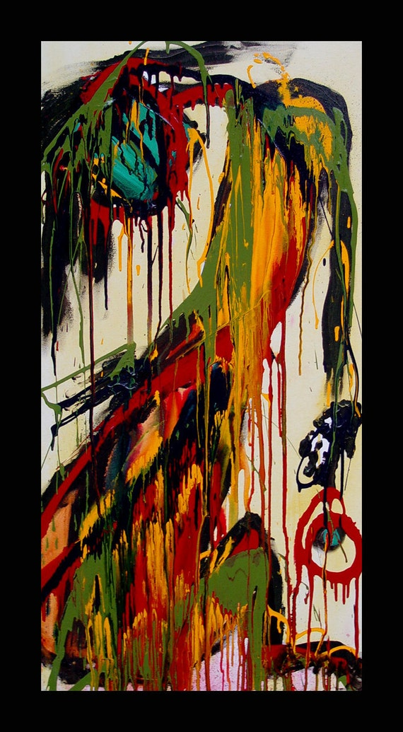 """Kelli Dubay Original Fine Art Acrylic Painting 24""""x48"""" When the Devil Toys with Your Soul"""