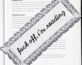 Subversive Cross Stitch Bookmark Kit: F Off I'm Reading