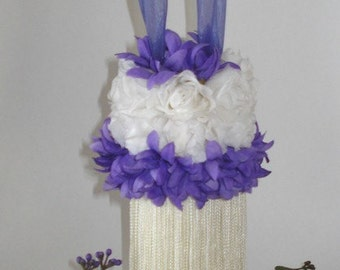White Roses and Purple Flowers Tassel