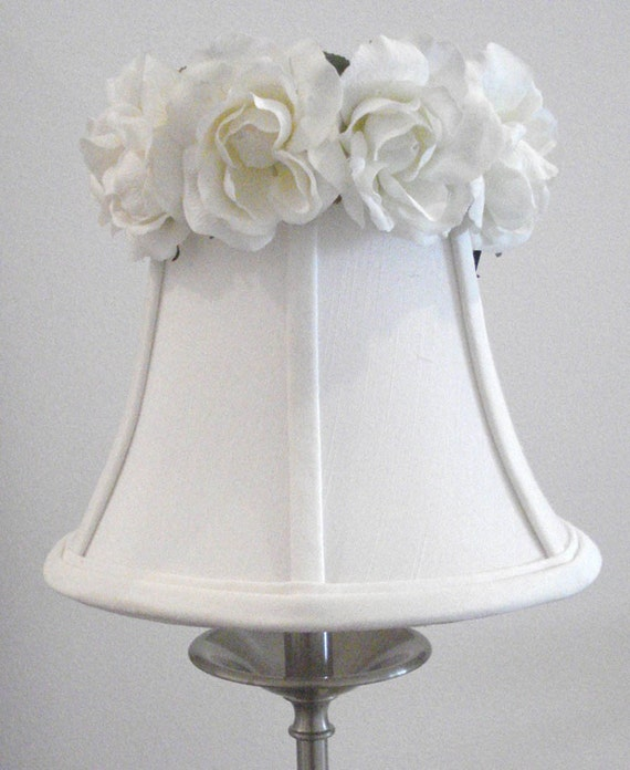 Floral Lampshade with White Roses