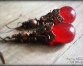 Red Crystal Earrings.  Red Tear Drop and Copper Earrings for Valentine's Day