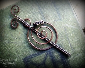 Spiral Copper Barrette or Shawl Pin