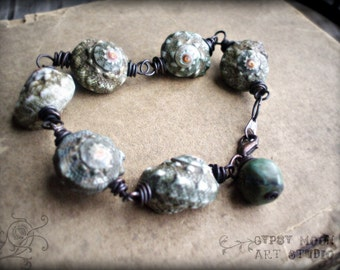 Chunky Wire Wrapped Shell Bracelet with TurquoiseCharm