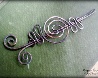 Celtic Copper Brooch.  Copper Hair Barrette or Shawl Pin Fall Fashion.