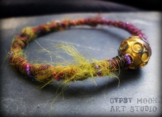 Recycled Sari Wire Wrapped Gypsy Bangle Bracelet