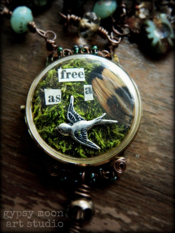 Vintage Watch Bird Collage Necklace. FREE AS A BIRD Copper Wire Wrapped Necklace with Moss Collage