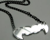 VAMPIRE FANGS Laser Cut Acrylic Pendant Silver\/Black
