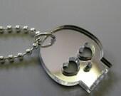 Mirror Finish Acrylic Plastic Heart Eyed Skull Necklace